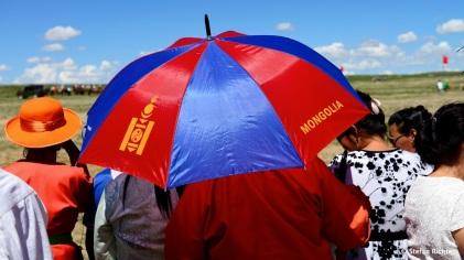 Die Sonne brennt - Schirm und Hut sitzen.