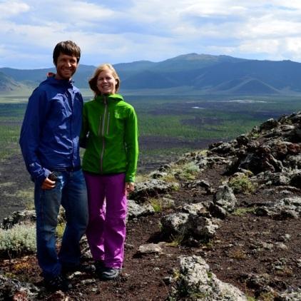 Julia und Stefan am Khorgo-Vulkan