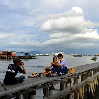 Fotoshooting am Chew Jetty