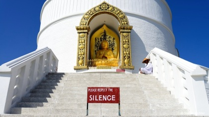Welt-Friedens-Stupa in Pokhara.