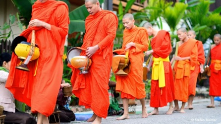 """Inzwischen gibt es schon organisierte Touristengruppen, die an der """"Mönchsfütterung"""" teilnehmen."""