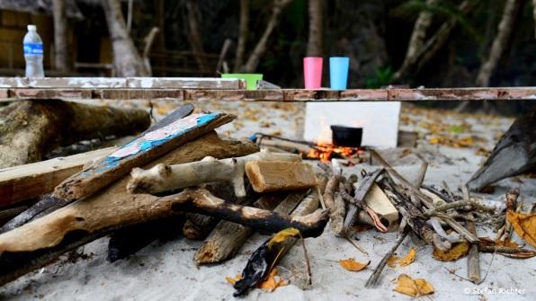 Küche mit Holzlager.