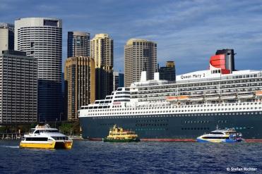 Schiffsdimensionen im Hafen von Sydney.