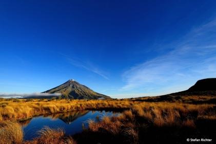 Kurz vor Sonnenuntergang hat sich der Berg noch einmal von seiner besten Seite gezeigt.