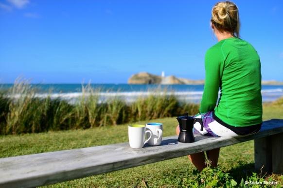 Und Traumwetter mit Kaffee am Strand.