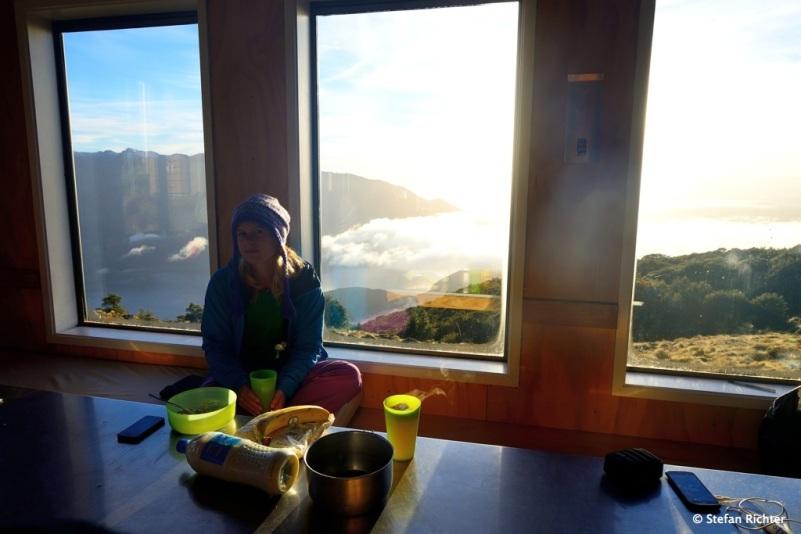 Panoramaplatz beim Frühstück.
