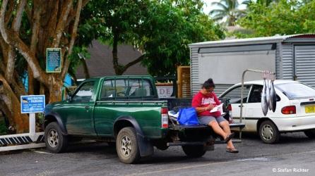 Fisch vom Auto. Es gibt sogar eigene Parkplätze zum Fischverkauf.