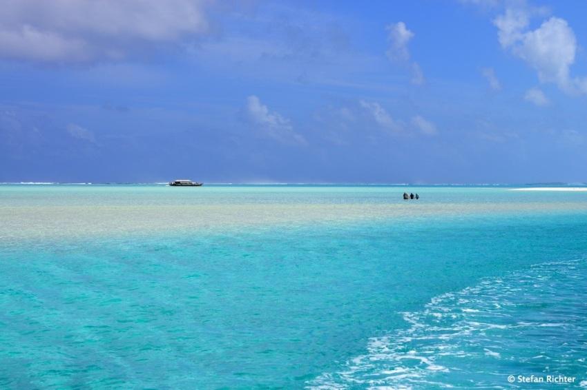 Wasserwandern. Von der Sandbank geht es zurück auf die Insel.
