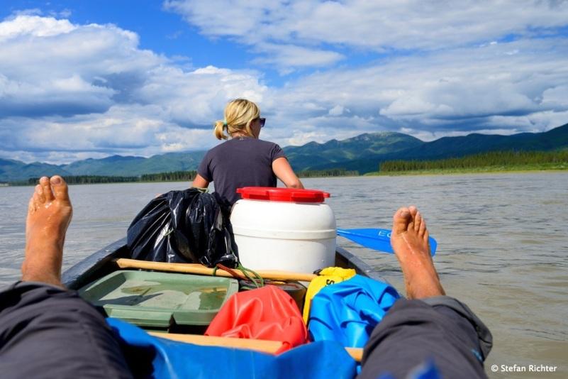 Entspanntes paddeln auf dem Yukon.