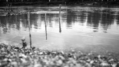 Wasserstandsmessung: In den letzten 14 Stunden ist das Wasser um mehr als 50 cm gestiegen. Vorteil: Der Fluss fließt schneller. Nachteil: Die meisten Kiesbänke sind wieder einmal überschwemmt.