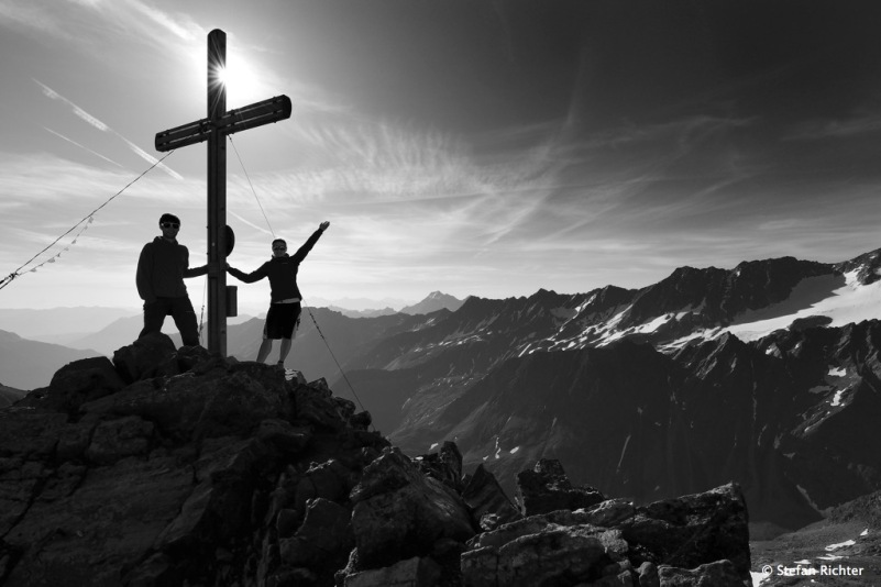Gipfelsieg. Die Rinnenspitze im Stubaital.