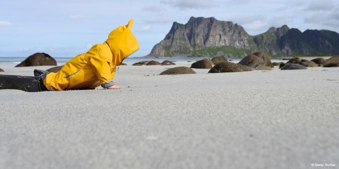 Finn erkrabbelt den Strand.